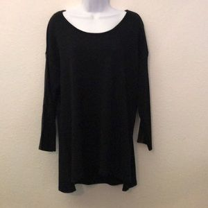 Calvin Klein black sweater faux leather ribbed XL